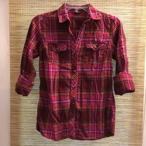 Eddie Bauer Cotton Flannel Long Sleeve Button Up